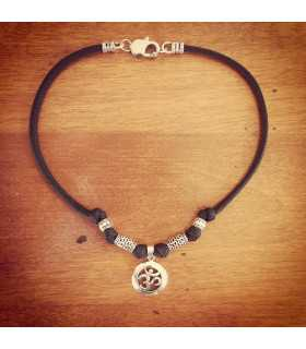 Sterling Silver Round Aum Necklace