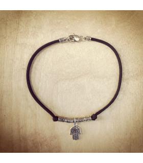 Antique Silver Hand of Hamsa Black Necklace