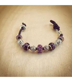 Women's Amethyst Swarovski  Crystals Beads on Black Charm Bracelet