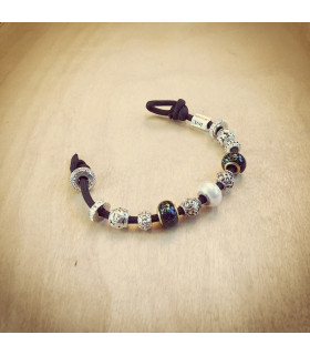 Women's Pearl Swarovski & Clear Crystal Beads on Black Charm Bracelet
