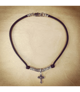 Antique Silver Cross with Beads on Black Necklace