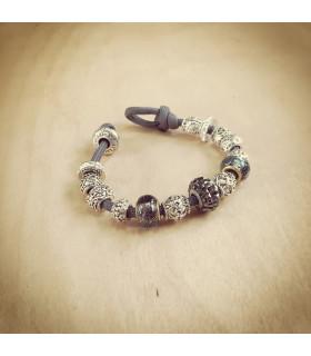 Women's Hematite Swarovski  Crystals Beads on Charcoal Gray Charm Bracelet