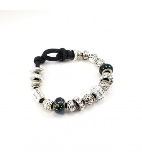 Women's Clear Swarovski  Crystals Beads on Black Charm Bracelet