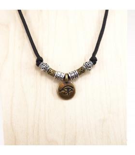 Antique Finish Eye of Horus charm and beads on 1.5 mm Black Nylon Necklace