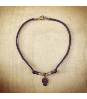 Antique Copper Hand of Hamsa Slate Blue Necklace