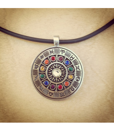 Zodiac Wheel Pewter necklace with colored stones