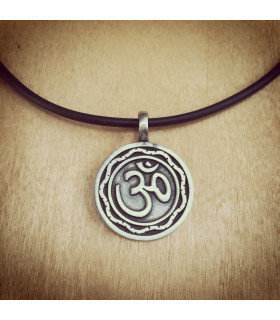 Raised AUM on Round Pewter Necklace