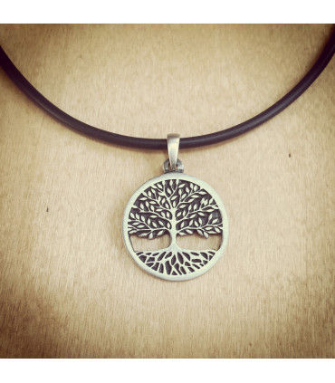 Tree of Life Carved Pewter Necklace