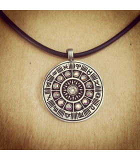 Zodiac Wheel Pewter Necklace with Clear AB Stones
