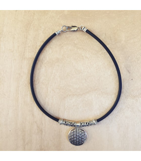 Sterling Silver Flower of Life Necklace on 4mm Rubber cord
