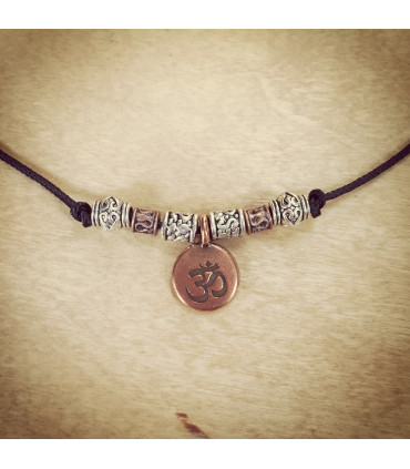 Antique Copper AUM  and beads on 1.5 mm Black Nylon Necklace