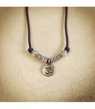 Antique Finish AUM  and beads on 1.5 mm Black Nylon Necklace