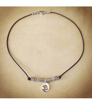 Antique Finish AUM charm and beads on 1.5 mm Black Nylon Necklace