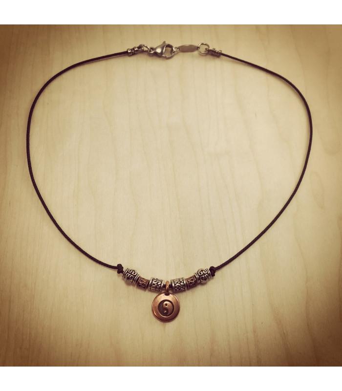 Antique Finish Yin & Yang charm and beads on 1.5 mm Black Nylon Necklace