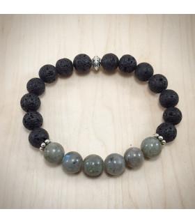 Men's/Unisex Labradorite Lava Rock Bracelet