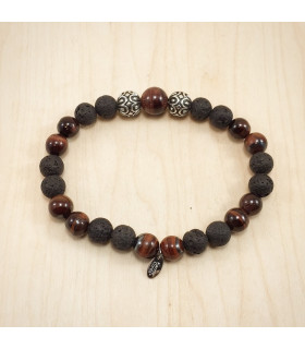 10mm Red Tigereye Lava Rock Bracelet