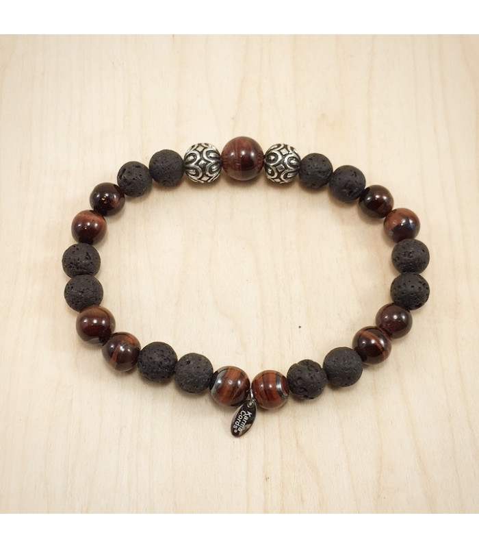 Men's/Unisex Red Tigereye Lava Rock Bracelet
