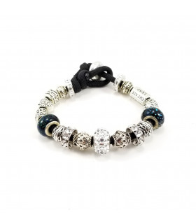 Women's Clear Swarovski  Crystals Beads on Black Charm Bracelet