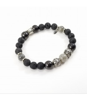 10mm Labradorite Shungite Lava Rock Bracelet XL