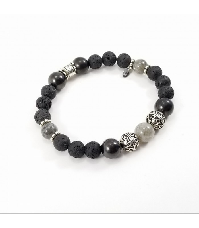 Men's/Unisex Labradorite Shungite Lava Rock Bracelet XL