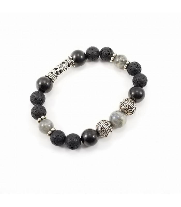 Men's/Unisex Labradorite Shungite Lava Rock Bracelet