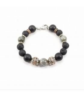 Men's/Unisex Labradorite Shungite Lava Rock SSHD Bracelet