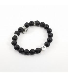 Men's/Unisex Infinity Triquetra Lava Rock 10mm SSHD Bracelet