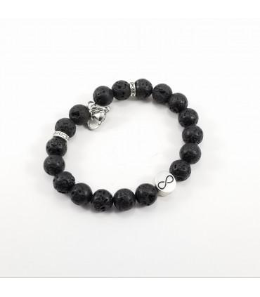 Men's/Unisex Infinity Triquetra Lava Rock SSHD Bracelet