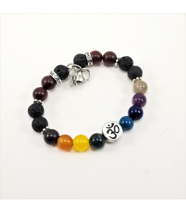 AUM/Buddha Chakra SSHD Bracelet - 8mm
