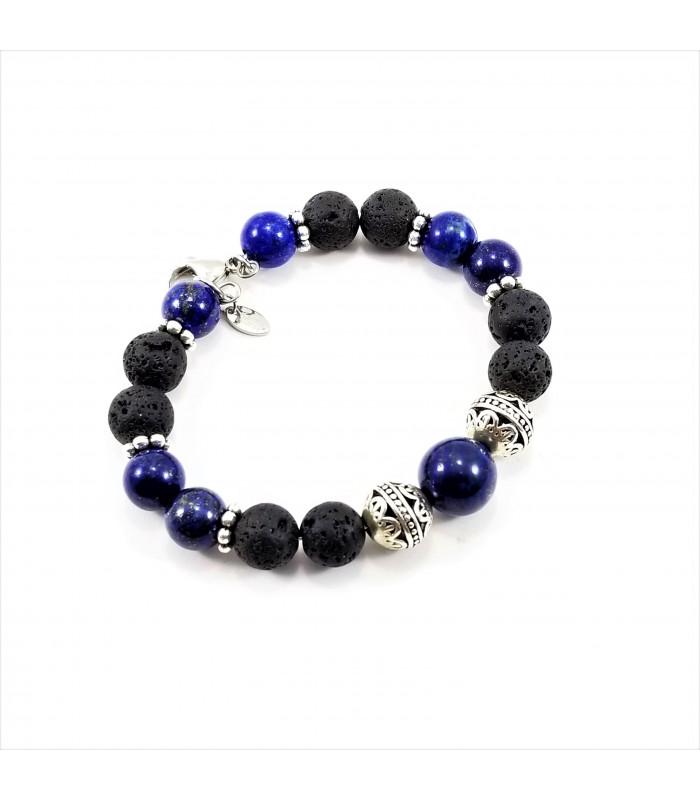 Men's/Unisex Lapis Lava Rock SSHD Bracelet