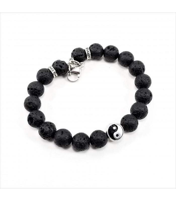 Men's/Unisex Yin & Yang Lava Rock SSHD Bracelet