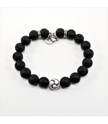 10mm Yin & Yang Lava Rock SSHD Bracelet