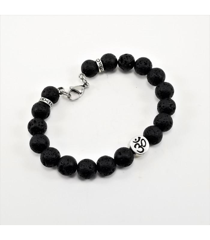 Men's/Unisex AUM Buddha Lava Rock 10mm SSHD Bracelet
