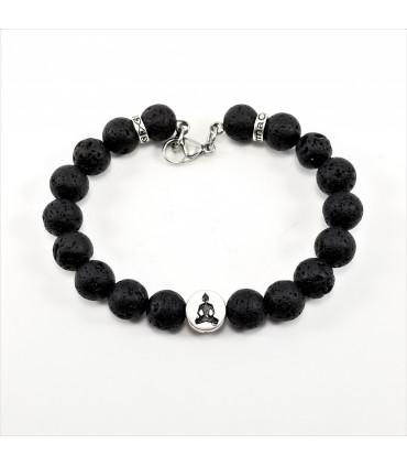 10mm AUM Buddha Lava Rock SSHD Bracelet