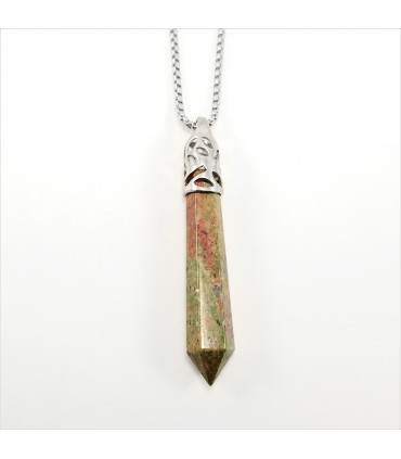 Unakite Long Prism Point Gemstone Pendant/Necklace