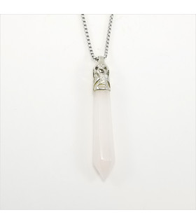Rose Quartz Long Prism Point Gemstone Pendant/Necklace