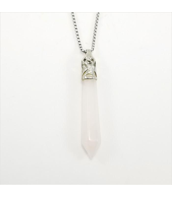 Rose Quartz Long Prism Point Gemstone Pendant/Necklace
