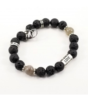 6-Words Labradorite Lava Rock SSHD Bracelet
