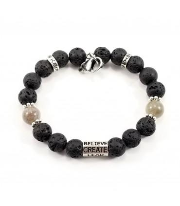 6-Words Labradorite Lava Rock SSHD Bracelet